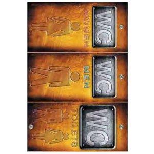 Αυτοκόλλητη καρτέλα πληροφόρησης «WC» 3 τεμ Πινακίδες Σήμανσης & Πληροφόρησης