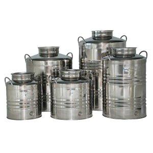 Δοχείο ανοξείδωτο με καπάκι για λάδι - κρασί - γάλα 20 λίτρων Ανοξείδωτα Δοχεία - Δεξαμενές