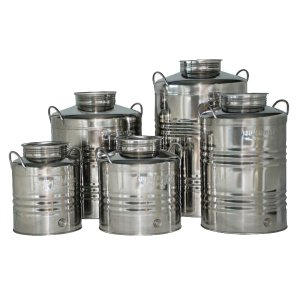 Δοχείο ανοξείδωτο με καπάκι για λάδι - κρασί - γάλα 100 λίτρων Ανοξείδωτα Δοχεία - Δεξαμενές