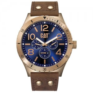 Ρολόι ανδρικό CAMDEN Blue/Rose Gold - Brown Leather NI.199.35.639 CAT® WATCHES