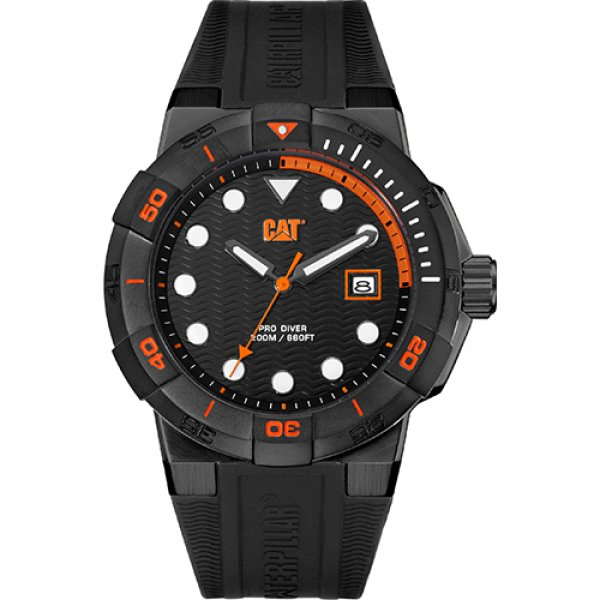 Ρολόι ανδρικό SHOCKDIVER Black/Orange - Black silicone SI.161.21.124 CAT® WATCHES | Ρολόγια Cat® Watches | karaiskostools.gr