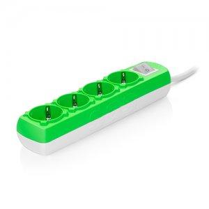 Πολύπριζο Colourline με καλώδιο 3x1,5mm & διακόπτη 4 θυρών πράσινο SAS 100-11-317 Φωτισμός