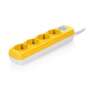 Πολύπριζο Colourline με καλώδιο 3x1,5mm & διακόπτη 4 θυρών  κίτρινο SAS 100-11-617 Φωτισμός