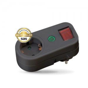 Αντάπτορας σούκο με θερμικό ρελέ προστασίας μαύρος SAS 100-15-031 Φωτισμός