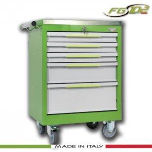 Εργαλειοφόρος 5 συρταριών με ανοξείδωτη επιφάνεια πράσινος FG 102V/5A FASANO Tools |Εργαλειοφόροι τροχήλατοι| karaiskostools.gr