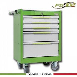Εργαλειοφόρος 5 συρταριών με ξύλινη επιφάνεια πράσινος FG 102V/5L FASANO Tools |Εργαλειοφόροι τροχήλατοι| karaiskostools.gr