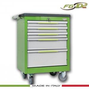 Εργαλειοφόρος 5 συρταριών με πλαστική επιφάνεια ABS πράσινος FG 102V/5T FASANO Tools |Εργαλειοφόροι τροχήλατοι| karaiskostools.gr