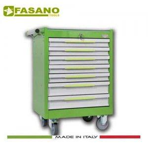 Εργαλειοφόρος 7 συρταριών με ξύλινη επιφάνεια πράσινος FG 102V/7L FASANO Tools Εργαλειοφόροι