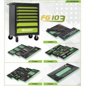 Εργαλειοφόρος τροχήλατος FG 103 7 συρτάριων & συλλογή 184 εργαλείων σε θήκες FG 103V/AS184 FASANO Tools | Εργαλεία Συνεργείου - Εργαλειοφόροι - Συλλογές Εργαλείων | karaiskostools.gr