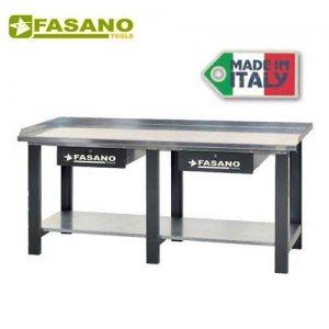 Πάγκος εργασίας 2m με μεταλλική επιφάνεια & 2 συρτάρια γκρί FG 129/D2 FASANO Tools Πάγκοι & Ταμπλό
