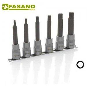 """Σετ καρυδάκια XZN μακρυά 1/2"""" σε ράγα 5-14 6 τεμαχίων FG 150LM/S6 FASANO Tools Κασετίνες Καρυδάκια"""