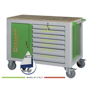 Εργαλειοφόρος 14 συρταριών με ξύλινη επιφάνεια μπλέ FG 160B/14L FASANO Tools |Εργαλειοφόροι τροχήλατοι| karaiskostools.gr