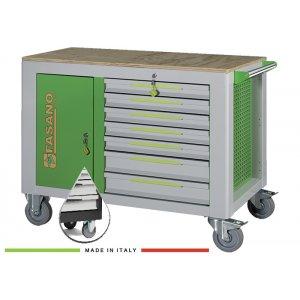 Εργαλειοφόρος 14 συρταριών με ξύλινη επιφάνεια σκούρο γκρι FG 160D/14L FASANO Tools |Εργαλειοφόροι τροχήλατοι| karaiskostools.gr