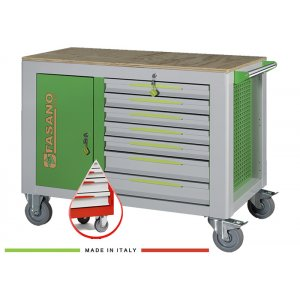 FG 160R/14L FASANO Tools  Εργαλειοφόρος 14 συρταριών με ξύλινη επιφάνεια κόκκινος |Εργαλειοφόροι τροχήλατοι| karaiskostools.gr