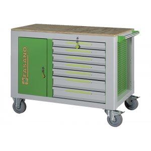 Εργαλειοφόρος 14 συρταριών με ξύλινη επιφάνεια πράσινος FG 160V/14L FASANO Tools |Εργαλειοφόροι τροχήλατοι| karaiskostools.gr