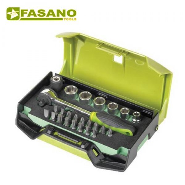 """Κασετίνα με καρυδάκια & μύτες 1/4"""" 25 τεμαχίων FG 624/S25 FASANO Tools Κασετίνες Καρυδάκια"""