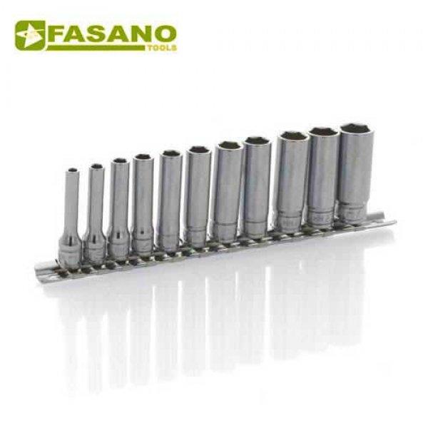 """Σετ καρυδάκια μακρυά 1/4"""" σε ράγα 4-14mm 11 τεμαχίων FG 624L/S11 FASANO Tools Κασετίνες Καρυδάκια"""