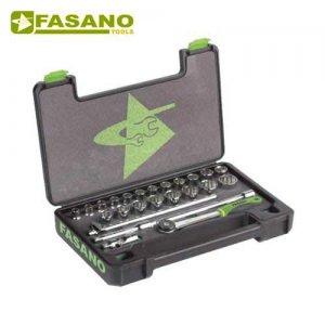 """Κασετίνα καρυδάκια 1/2"""" δωδεκάγωνα και εξαρτήματα 25 τεμαχίων FG 625/S25 FASANO Tools Κασετίνες Καρυδάκια"""
