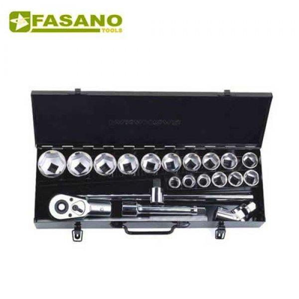 """Κασετίνα καρυδάκια εξάγωνα 3/4"""" & εξαρτήματα 15 τεμαχίων FG 629A/S15 FASANO Tools Κασετίνες Καρυδάκια"""