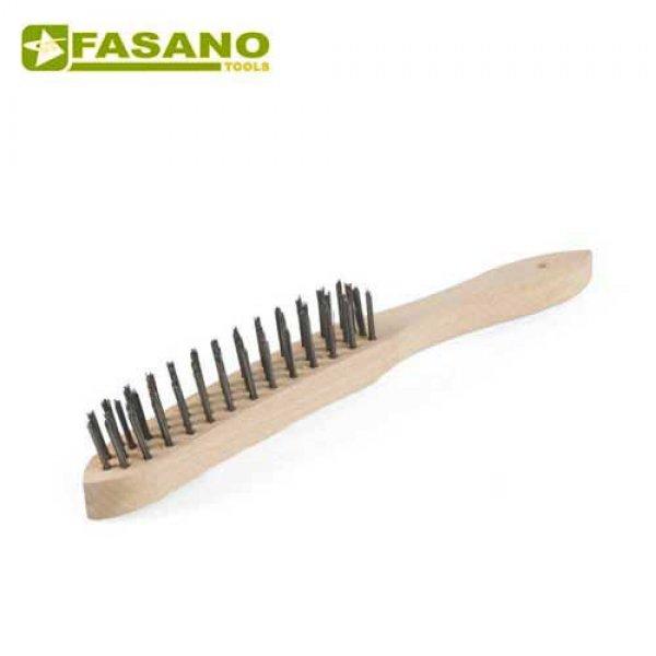 Συρματόβουρτσα χειρός σιδερένια 4 σειρών με ξύλινη χειρολαβή FG 79/SP3 FASANO Tools Ξύστρες - Σπάτουλες