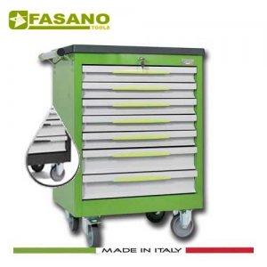 Εργαλειοφόρος 7 συρταριών με πλαστική επιφάνεια ABS σκούρο γκρί FG 102D/7T FASANO Tools Εργαλειοφόροι