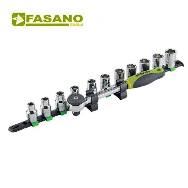 """Σετ καρυδάκια εξάγωνα 1/2"""" & καστάνια σε ράγα 8-19mm 12 τεμαχίων FG 625A/S12 FASANO Tools   Εργαλεία Χειρός - Κασετίνες Καρυδάκια   karaiskostools.gr"""