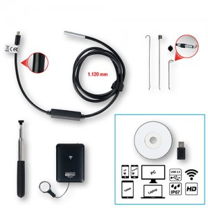 Σετ βιντεοσκόπιο Wi-Fi με αισθητήρα μπροστινής κάμερας Ø 3,9 mm 0°, 8 τεμαχίων 550.7520 KS TOOLS