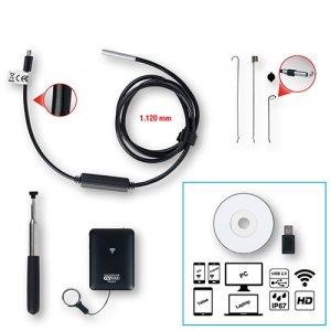 Σετ βιντεοσκόπιο Wi-Fi με αισθητήρα μπροστινής κάμερας Ø 6,0 mm 0° και 90° HD, με δυνατότητα εναλλαγής, 5 τεμαχίων 550.7540 KS TOOLS