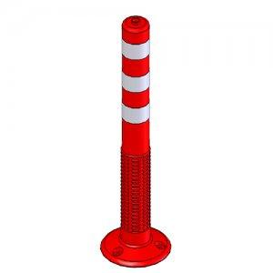 Κολωνάκι σήμανσης εύκαμπτο 75cm με 3 ανακλαστικές ταινίες κόκκινο/άσπρο Κώνοι - Κολωνάκια Σήμανσης